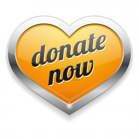 Big yellow donate now heart button