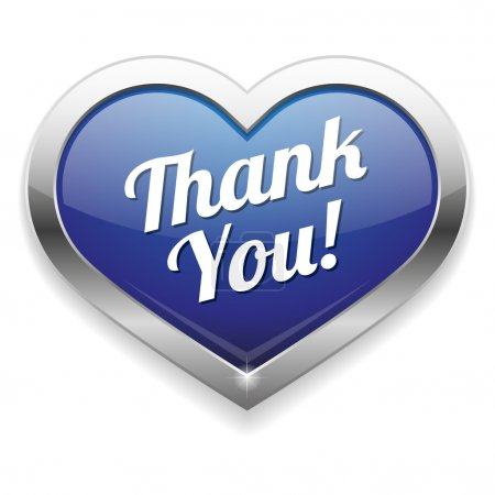 Illustration for Big Heart shaped Thank you Button - Royalty Free Image