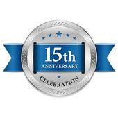 Blue fifteen year anniversary seal