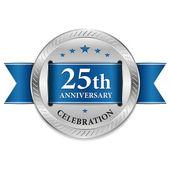 Blue twenty five year anniversary seal