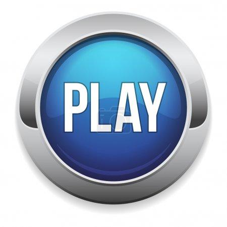 Illustration pour Grand bleu jouer bouton avec bordure métallique - image libre de droit