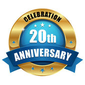 20 years anniversary button blue