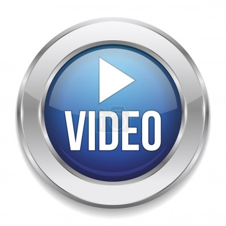 Illustration pour Bouton vidéo bleu argent - image libre de droit