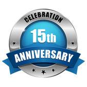 Blue 15 year anniversary button