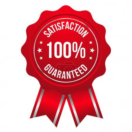 Illustration for Red hundred percent satisfaction badge - Royalty Free Image