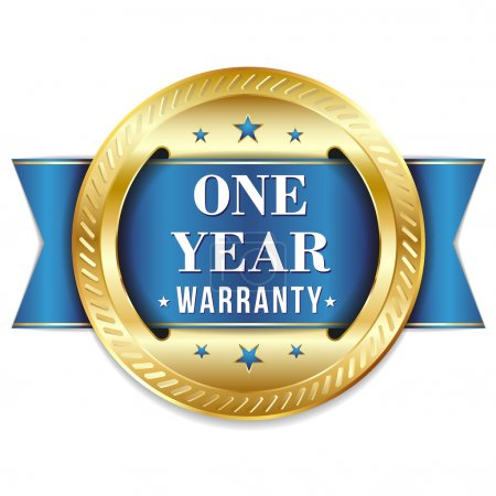 Blue one year warranty button