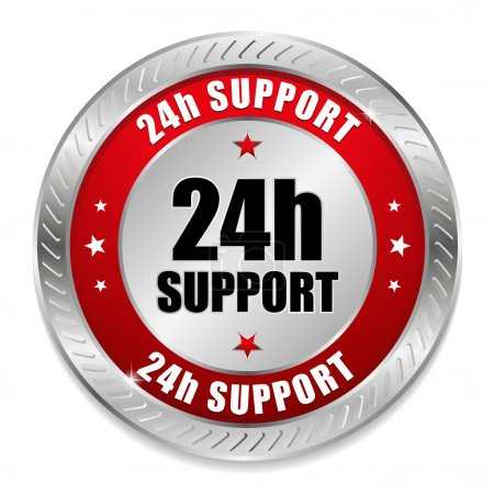 Illustration for Red 24 hour support button - Royalty Free Image