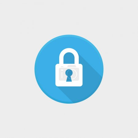 Blue lock icon with grey background