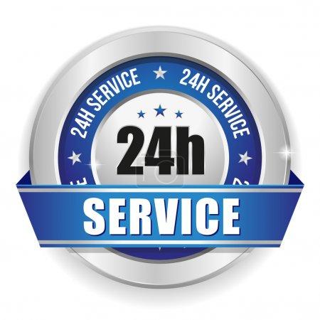 Ilustración de Azul redondo veinticuatro horas divisa del servicio con la cinta - Imagen libre de derechos