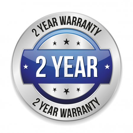 Blue two year warranty button