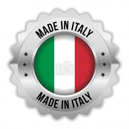 Round made in italy badge with chrome border