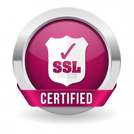 Illustration for Purple round ssl certified button with ribbon and metallic border - Royalty Free Image