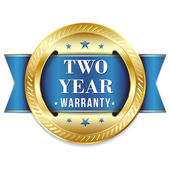 Blue gold two year warranty badge with ribbon on white background