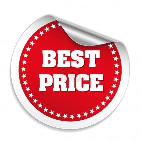 Illustration pour Autocollant rouge rond meilleur prix sur fond blanc - image libre de droit