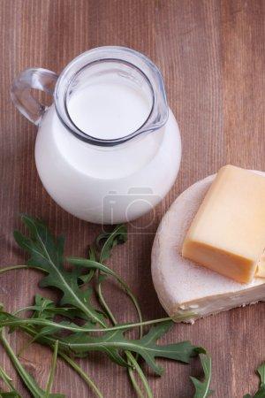 White cheese and milk
