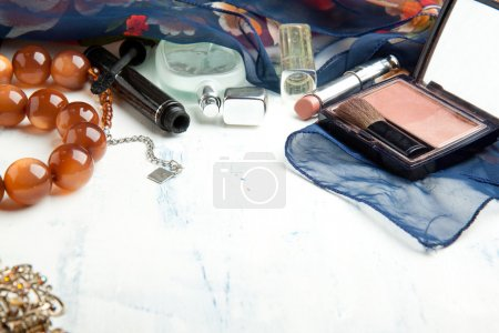 Various cosmetics and beads