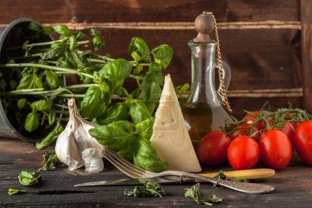 Basil, garlic, tomatoes and cheese