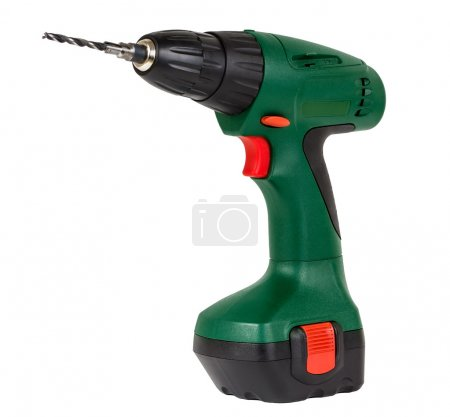 Photo for Green screwdriver drill isolated on a white background - Royalty Free Image