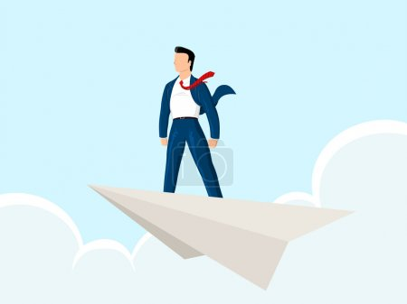 Illustration for A businessman standing in a paperplane with the sky background. paperplane can be modified into various object such as money, form, contract, etc - Royalty Free Image