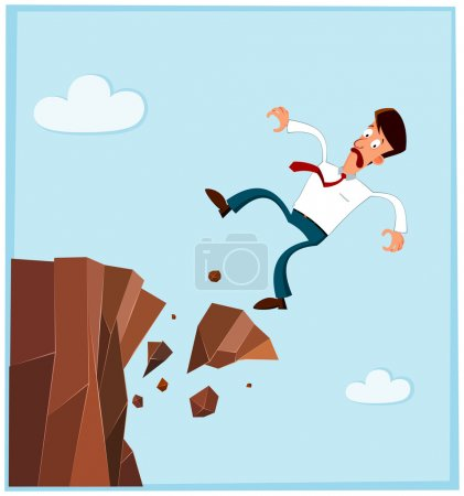 Businessman falling from the side of cliff