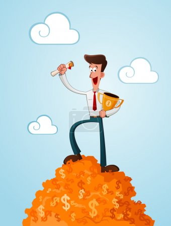 Illustration for Successfull businessman standing in the top of dollar symbol carrying trophy - Royalty Free Image