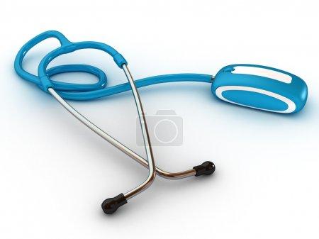 stethscope et informatique de la souris. technologies médicales. 3D