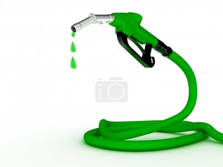 Green fuel nozzle with green droplet on white background