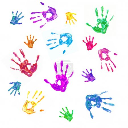 Photo for Colorful background from prints of painted hands of the family, mom, dad and baby. Family, fun and creative concept. Isolated on white background - Royalty Free Image