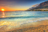 Sunset over the beach,Makarska,Dalmatia,Croatia