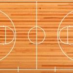 Basketball court floor plan on parquet background...