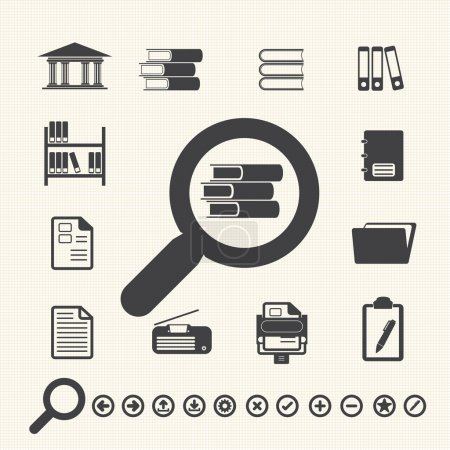 Documents Icons and Library icon. Vector