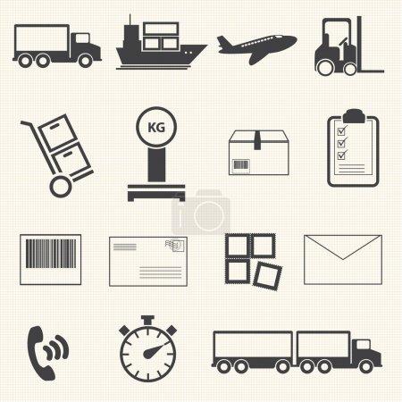 Illustration pour Icône logistique et d'expédition sur fond de texture - image libre de droit