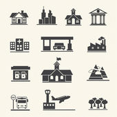 Vector icons set of places