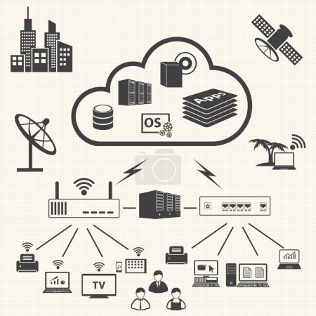 Illustration for Cloud computing and Data management icons set. Vector - Royalty Free Image