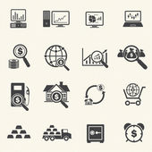 Business and Finance Icons with texture background