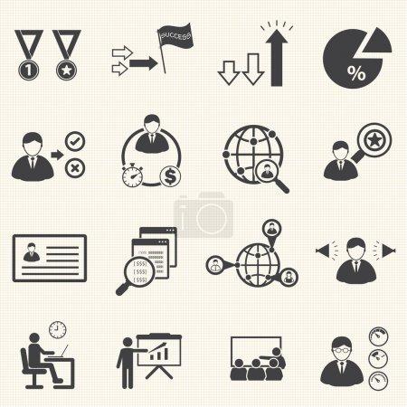 Illustration pour Gestion des ressources humaines et Conseil affaires icônes set, set vector - image libre de droit
