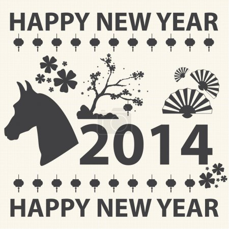 Chinese new year. year of the horse. Vector icons set.