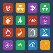 Sign and Symbols of danger icons set Vector flat design