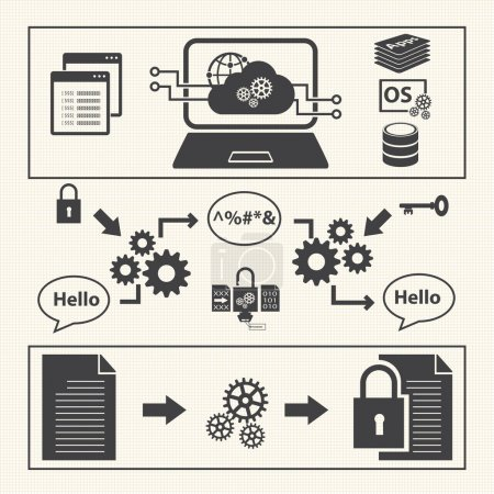 Illustration pour Ensemble d'icônes de gestion des données. Vecteur d'infrastructure système - image libre de droit