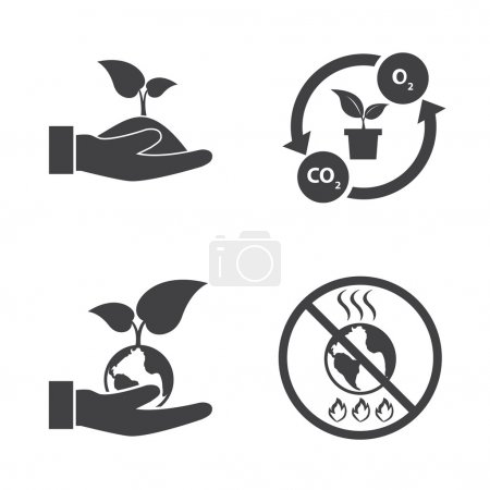 Illustration for Eco energy icons set with texture background. Save the world. - Royalty Free Image