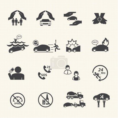 Car insurance icons set.