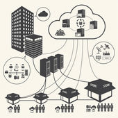 Big Data icons set Cloud computing and network concept