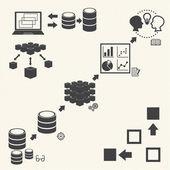 Big Data icons set Data minning concept