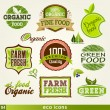 Set of organic and farm fresh food labels and Elem...
