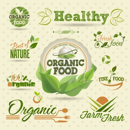 Illustration for Set of Fresh Organic vector Labels and Elements - Royalty Free Image
