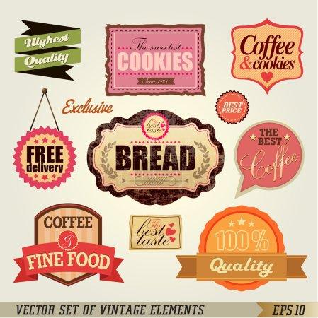 Ilustración de Conjunto de retro etiquetas y cintas para diseño vintage - Imagen libre de derechos