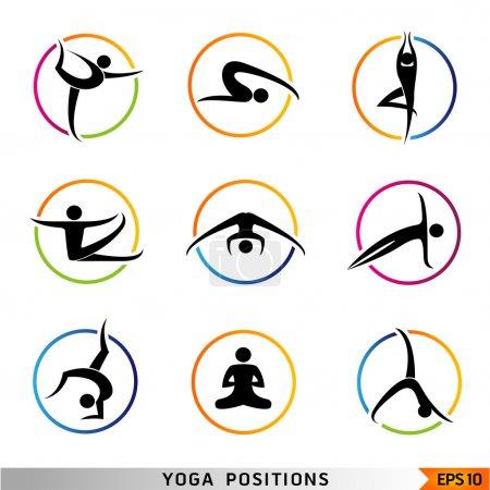Yoga, pilates set of vector symbols