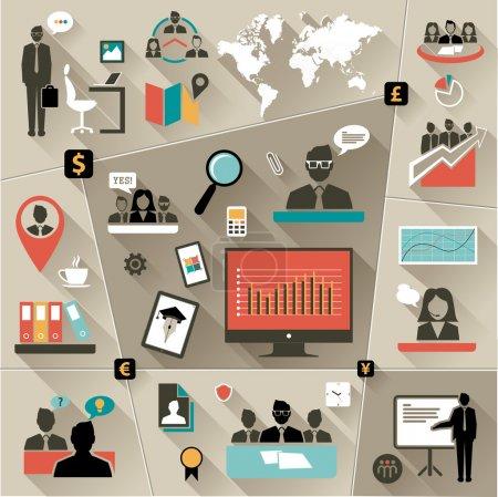 Illustration pour Ensemble d'icônes de conception plate illustration web et logos d'optimisation de site Web. isolé sur fond coloré élégant - image libre de droit
