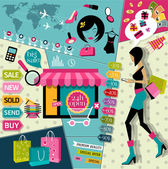 Set of Flat design vector illustration concepts icons and fashion symbols of online shopping and payment methods