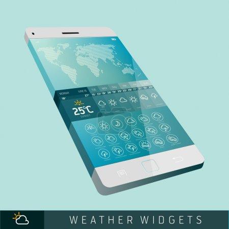 Modern Weather Widget Symbols and Interface Design...